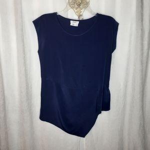 DKNY Blue 100% Silk Sleeveless Asymetrical Blouse
